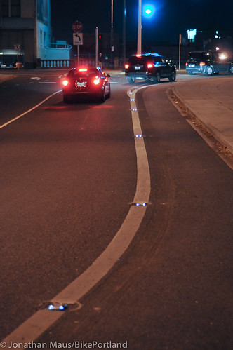 LED bike lane lights on NE Couch-5