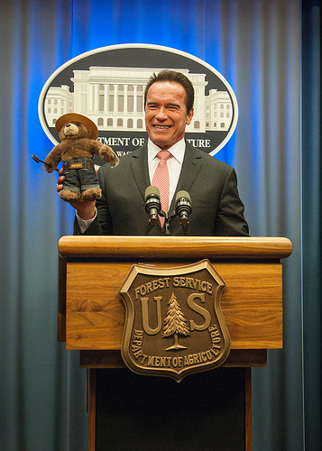 Former California Governor Arnold Schwarzenegger was named an Honorary Forest Ranger today during a ceremony at the USDA Whitten Building (Photo by Bob Nichols, USDA)