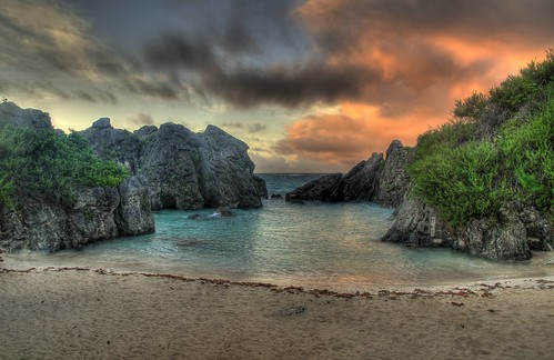 sea summer clouds sunrise bermuda hdr