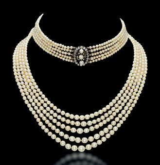 Five row antique pearl & diamond necklace