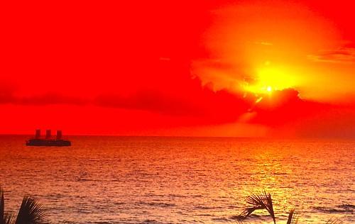 sunset seascape hawaii kona kailua extachrome