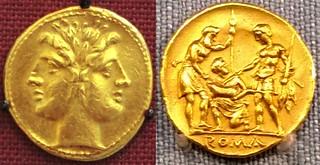 28/1 Dioscuri Oath Scene gold stater, 2nd Punic war, obverse British Museum reverse Vienna Kunsthistorisches Museum