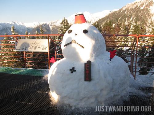 Snowman at Shin-Hotaka Ropeway view deck