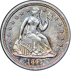 1841 Liberty Seated Dime No Drapery