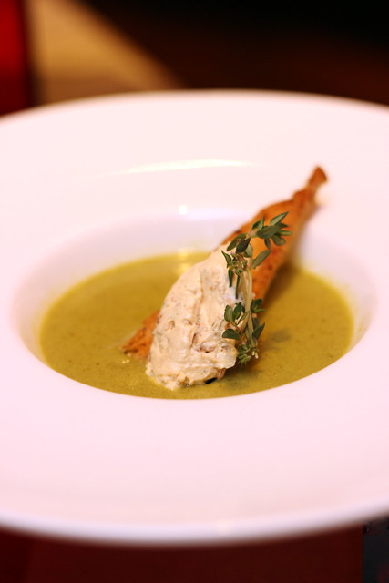 Watercress and Soya Milk Soup with Sundried Tomato Nougat