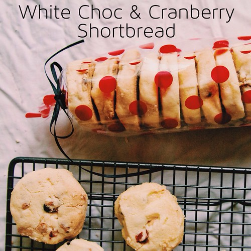 White Choc + Cranberry Shortbread