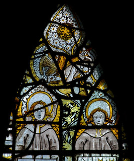 Atcham, Shropshire, St. Eata's church, east window, God & St. John, detail