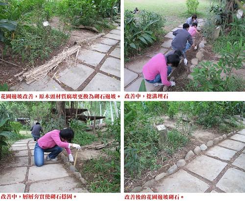生態池邊緣花圃邊坡改善前後對照,圖片來源:孟琬瑜