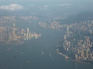 201311115 CX743 HKG-RUH Hong Kong harbour
