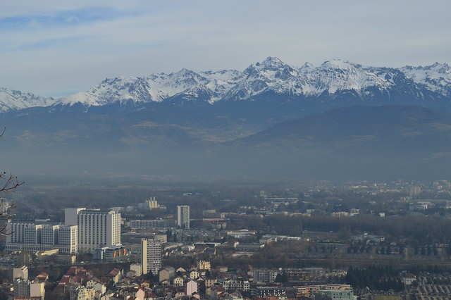 a picture of Grenoble and the Alps