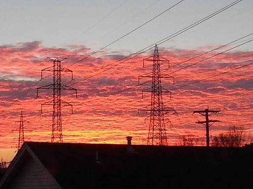 Sunrise and pylons