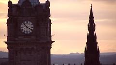 tall landmarks at dusk