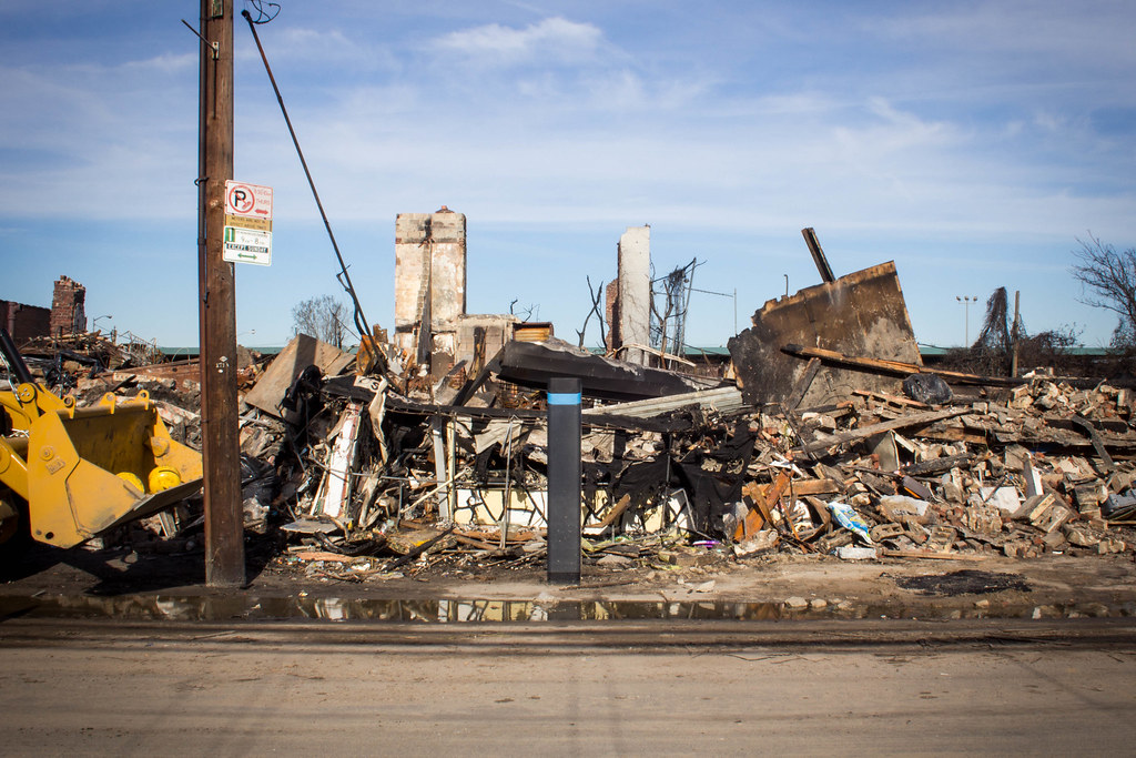 Destruction after Hurricane Sandy in Rockaways, Queens.