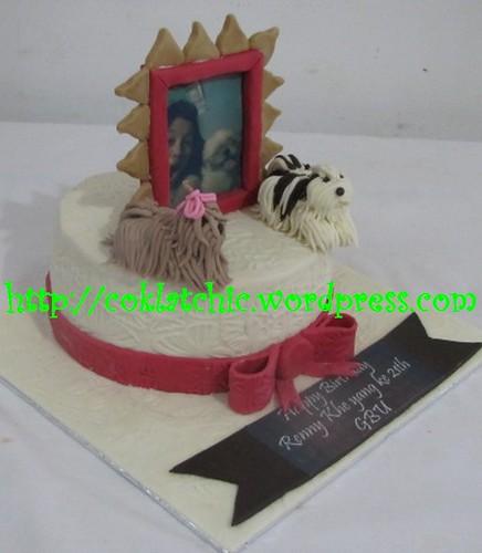 KUe ulang tahun dengan tema Cake shih tsu dengan frame foto model ini ...