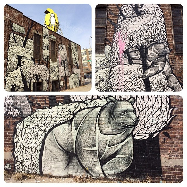 Bears attack Bklyn! Troutman Street #streetart