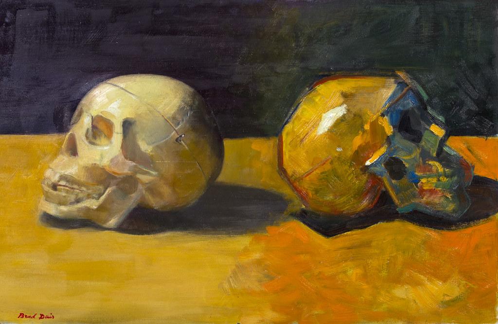 "Brad Davis Abstract VS. Representational 16"" x 25"" Oil on Wood 2013"