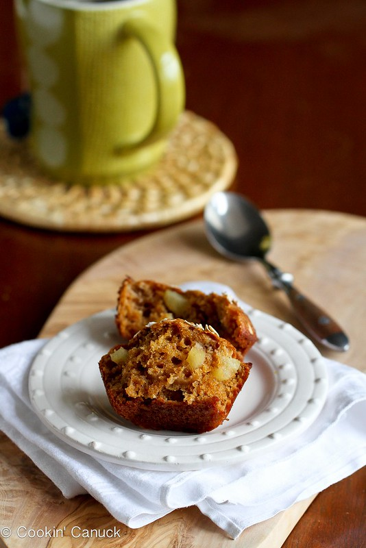 Whole Wheat Apple Spice Muffins Recipe | cookincanuck.com #muffin