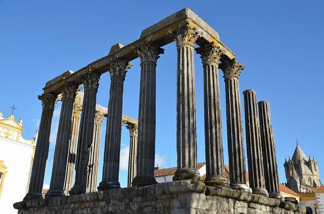 The Roman Temple of Évora,  detail of columns, capitals and architrave, Ebora Liberalitas Julia, Lusitania, Portugal
