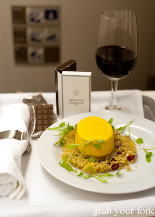Carrot, coriander and cumin mousse on British Airways business class London to Singapore