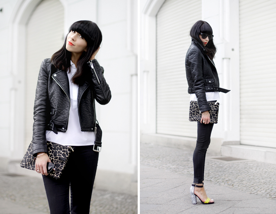 Black and White clear clean French Frenchie outfit OOTD styling leather biker animal clutch Sacha x Fashionchick summer heels fashionblogger Berlin German blogger Ricarda Schernus 1