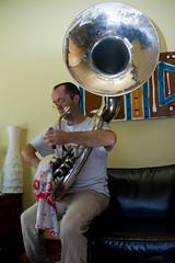tuba(0.0), trumpet(0.0), sousaphone(1.0), musical instrument(1.0), brass instrument(1.0), blue(1.0),