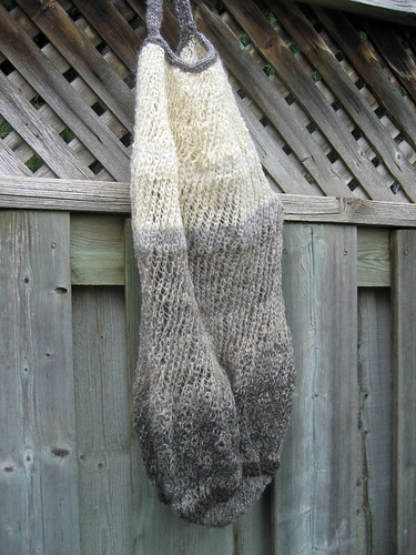 Hand prepared handspun wool knitted bag by irieknit