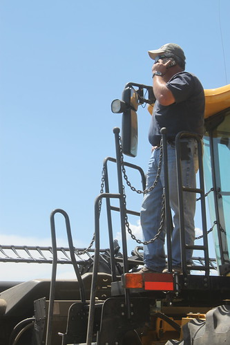 The boss had to get out of the combine to get service.