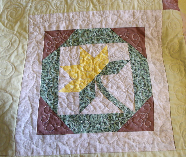 Cactus Flower block - quilted