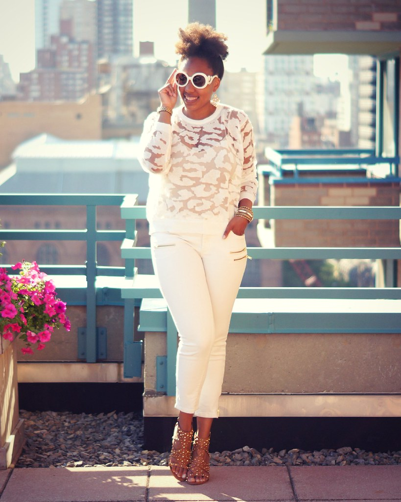 Sheer Top + White Jeans