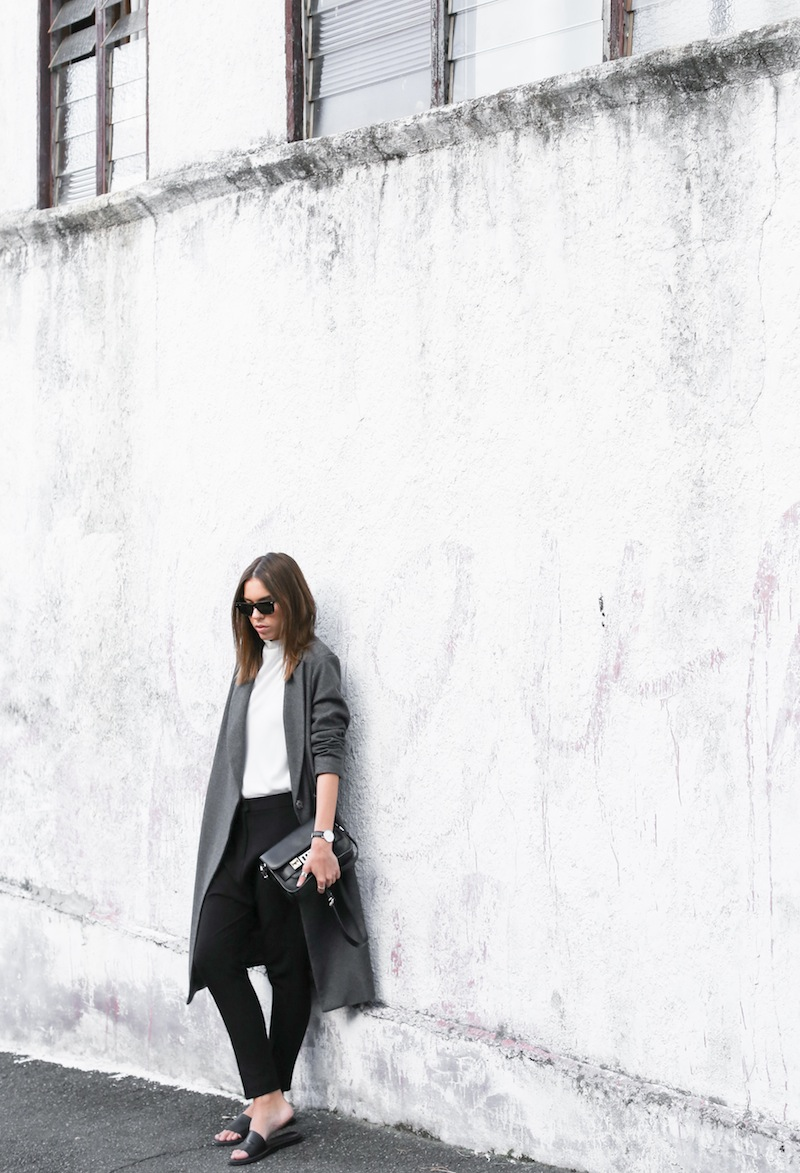 modern legacy fashion blog street style ASOS sale Oversized Grey Masculine coat Common Projects leather pool slide sandals Camilla and Marc Assent high neck top ankle zip Domain pants classic masculine (2 of 3)