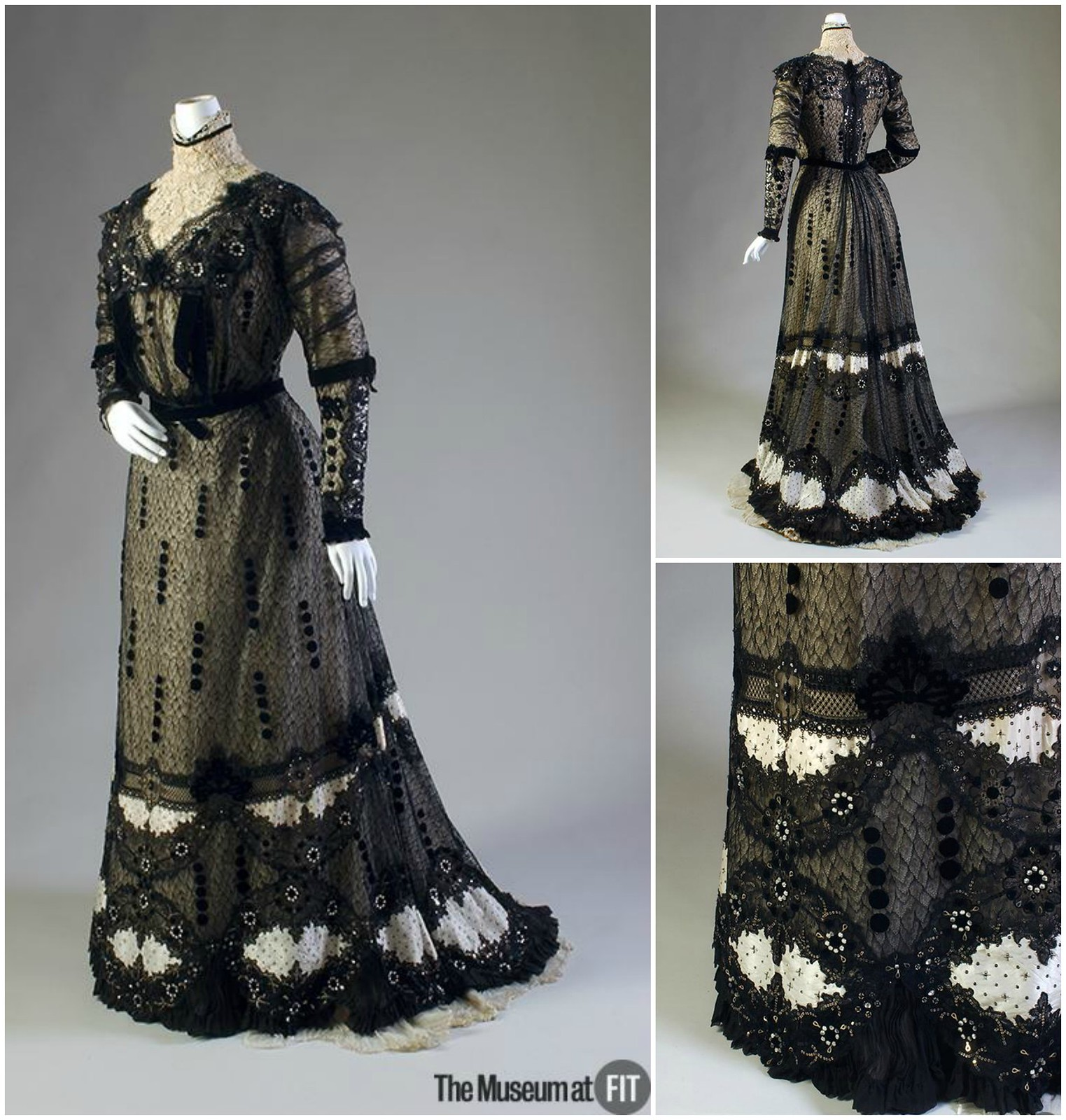 1909. Evening Dress. Callot Soeurs. Black lace, white taffeta, sequins and rhinestones. Museum at FIT
