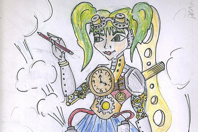 Steam Powered Girl by artist Rosie Blackshaw for Big Draw