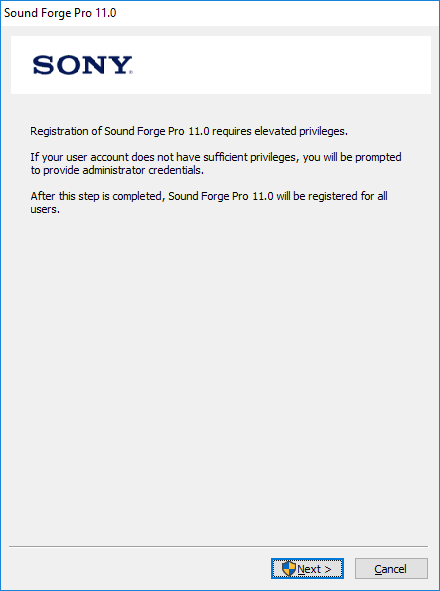 """Registration of Sound Forge Pro 11.0 requires elevated privileges"" dialog"