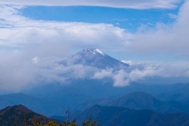 薄っすらと冠雪した富士山!@鍋割山