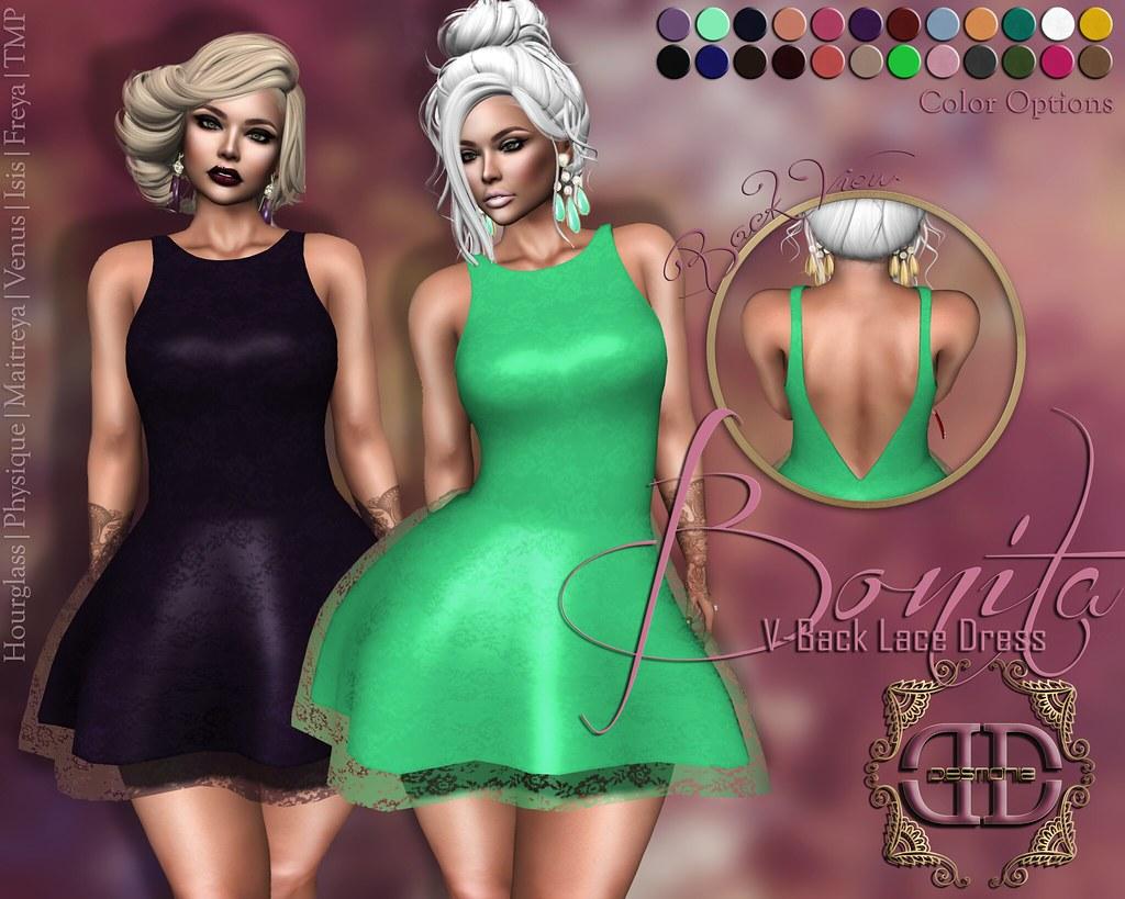 Bonita V-Back Lace Dress Fatpack - SecondLifeHub.com