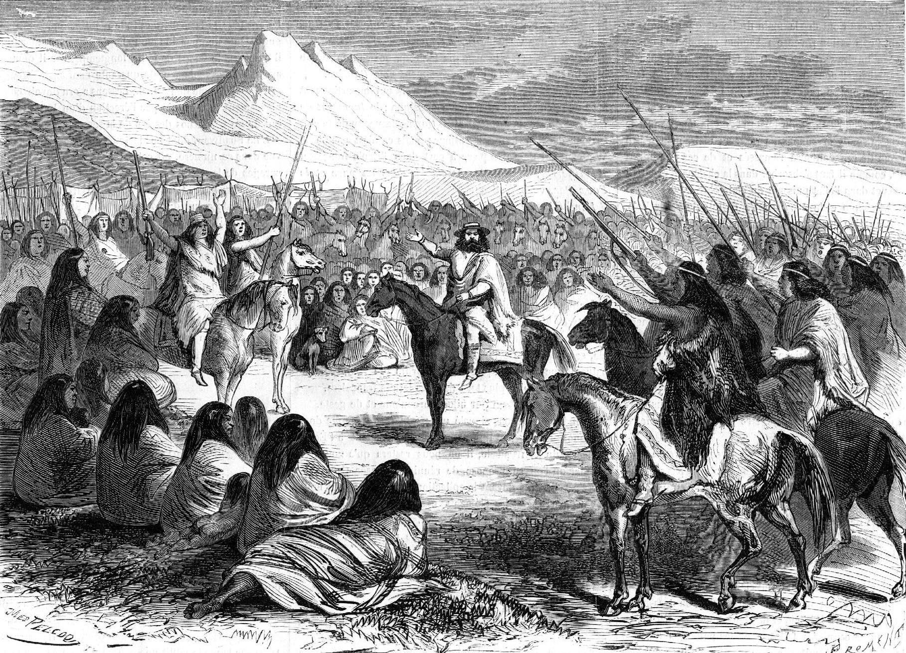 Reunión de indios Mapuches, propios del sur de Chile. Autor, Jules Peco (siglo XIX)