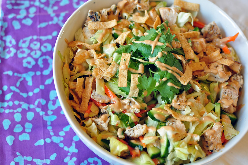 Asian Chicken Salad with Chili Lime and Peanut Dressings