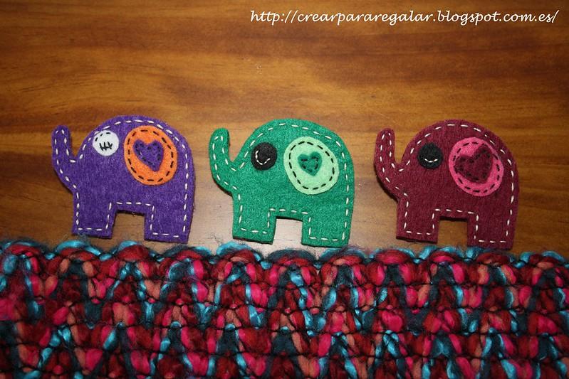 Broches Elefantes de Fieltro
