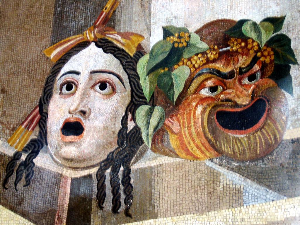 Mosaico que representa máscaras de teatro clásico.