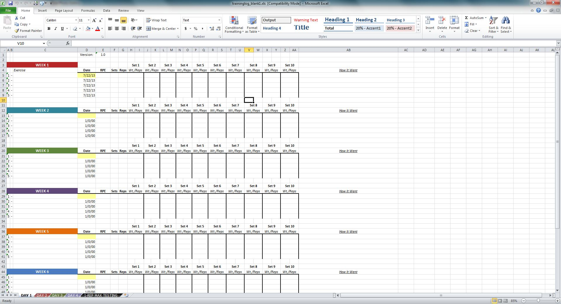 Niel k patel download training log spreadsheet general template has four tabs for following a four day routine alramifo Images