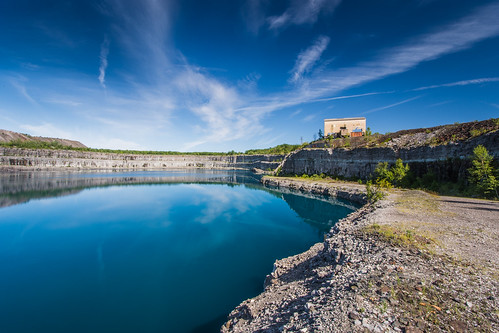 blue sky ontario water clouds reflections nikon wideangle pit mining mines peterborough quarry marmora d7100 marmoramines