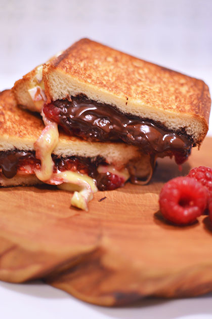 Toasted Brioche Sandwich with Chocolate, Brie & Raspberry