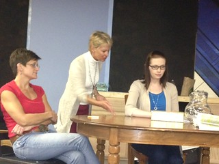 Actors Molly Griffin, Amy Lacy and Theresa Koleszar during rehearsal.