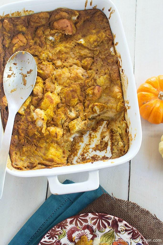 Coconut Pumpkin Bread Pudding with Coconut Creme Anglaise via LittleFerraroKitchen.com