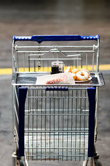 shelf(0.0), furniture(0.0), vehicle(0.0), cage(0.0), table(0.0), shopping cart(1.0), cart(1.0),