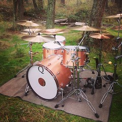 Regram of @clubclubmagicdrive setting up for his video shoot!!! Nice looking kit if I do say so myself. #qdrumco #copper #drums #takeovercanada