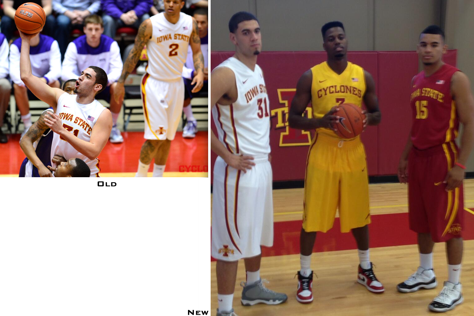 bdb2613bfe6 Minor changes for Iowa State, which has a new design down the sides of the  jersey and shorts.
