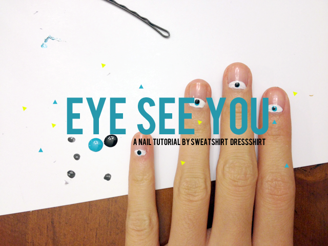 nail tutorial, nail art, eye see you nails, evil eye nails, half moon mani, half moon maincure, simple manicures, diy manicures, diy nail art, cute nails, unique nail art, white nail polish ideas