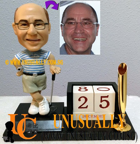Unusually Custom 3D Male Golfer On Calender Cum Card Holder Figurine - @www.unusually.com.sg