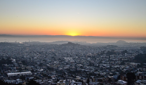 Sunrise at Twin Peaks (looking towards Bernal Hill & Bernalwood)